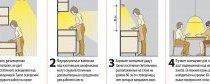 Схема розміщення ламп, світильників для освітлення малогабаритної кухні.  Маленька кухня 6 кв.  м. в квартирі або будинку.